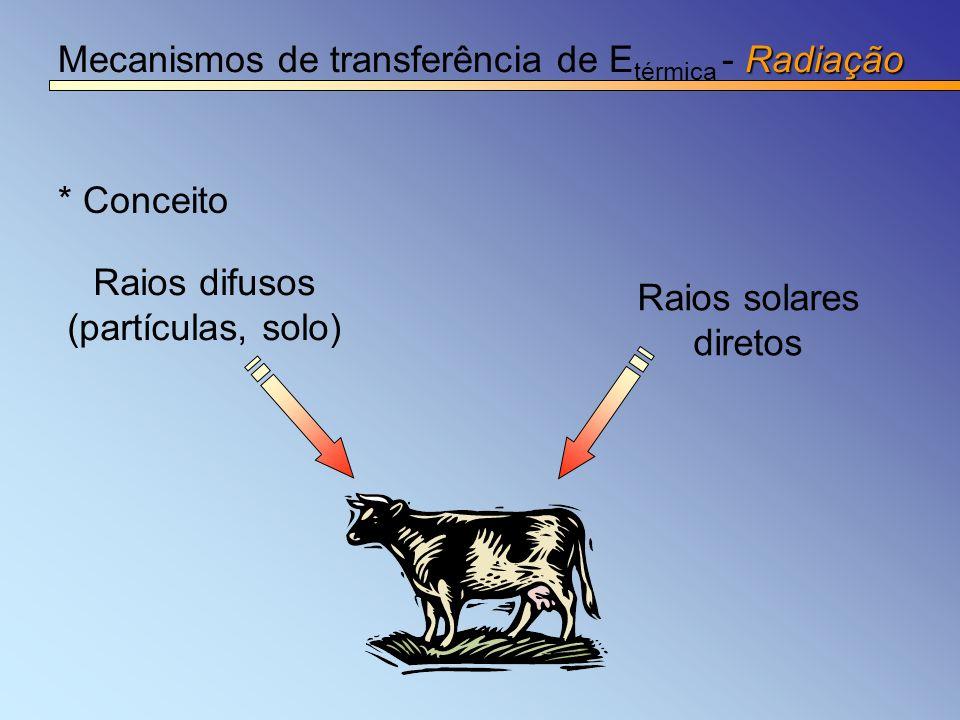 Radiação Mecanismos de transferência de E térmica - Radiação * Conceito Raios solares diretos Raios difusos (partículas, solo)