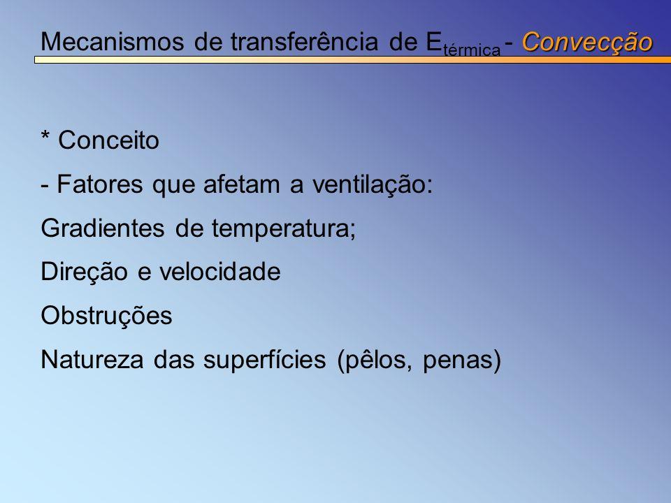 Convecção Mecanismos de transferência de E térmica - Convecção * Conceito - Fatores que afetam a ventilação: Gradientes de temperatura; Direção e velo