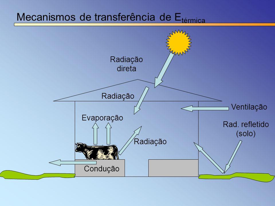 Mecanismos de transferência de E térmica Rad. refletido (solo) Radiação Evaporação Radiação direta Condução Ventilação Radiação