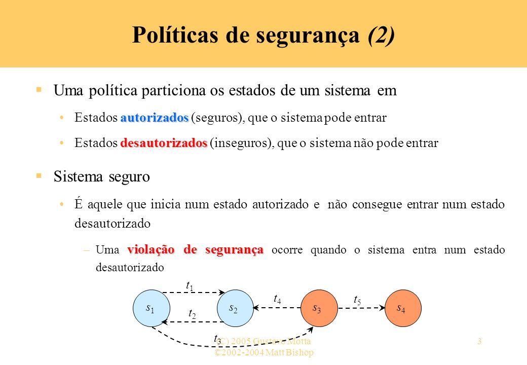 ©2002-2004 Matt Bishop (C) 2005 Gustavo Motta3 Políticas de segurança (2) Uma política particiona os estados de um sistema em autorizadosEstados autor