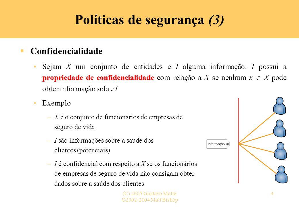 ©2002-2004 Matt Bishop (C) 2005 Gustavo Motta4 Políticas de segurança (3) Confidencialidade propriedade de confidencialidadeSejam X um conjunto de ent