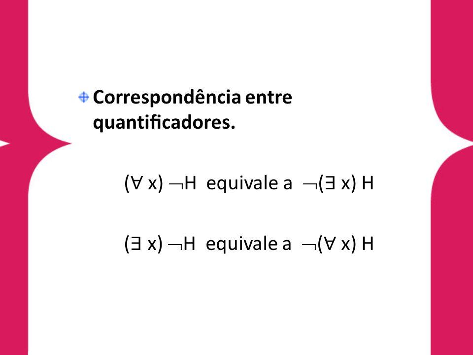 Correspondência entre quanticadores. ( x) H equivale a ( x) H