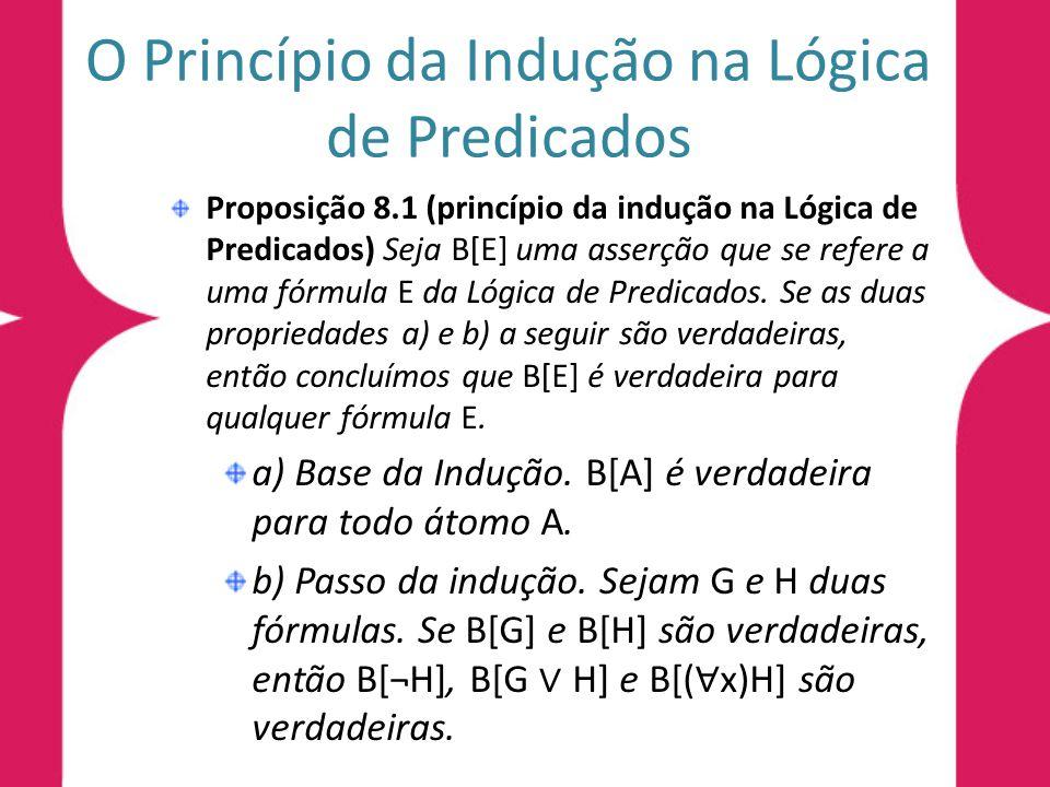 O Princípio da Indução na Lógica de Predicados Proposição 8.1 (princípio da indução na Lógica de Predicados) Seja B[E] uma asserção que se refere a um