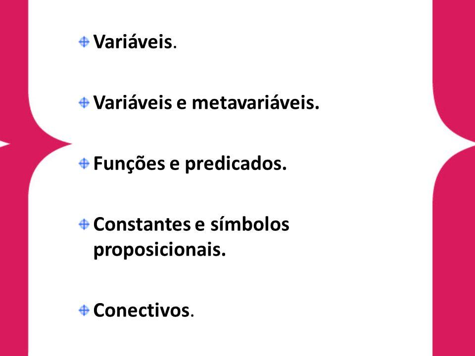 Variáveis. Variáveis e metavariáveis. Funções e predicados. Constantes e símbolos proposicionais. Conectivos.