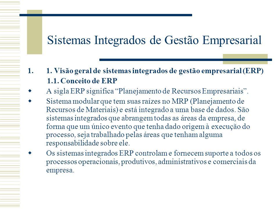 Sistemas Integrados de Gestão Empresarial 1.1. Visão geral de sistemas integrados de gestão empresarial (ERP) 1.1. Conceito de ERP A sigla ERP signifi