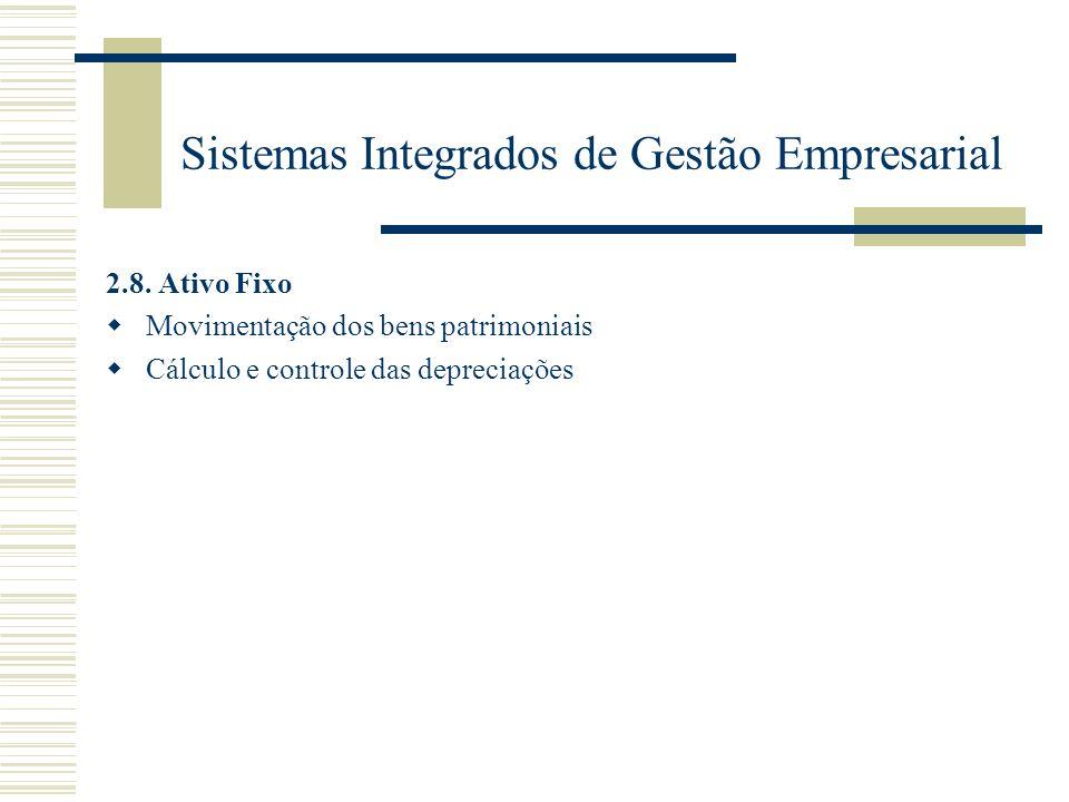 Sistemas Integrados de Gestão Empresarial 2.8. Ativo Fixo Movimentação dos bens patrimoniais Cálculo e controle das depreciações