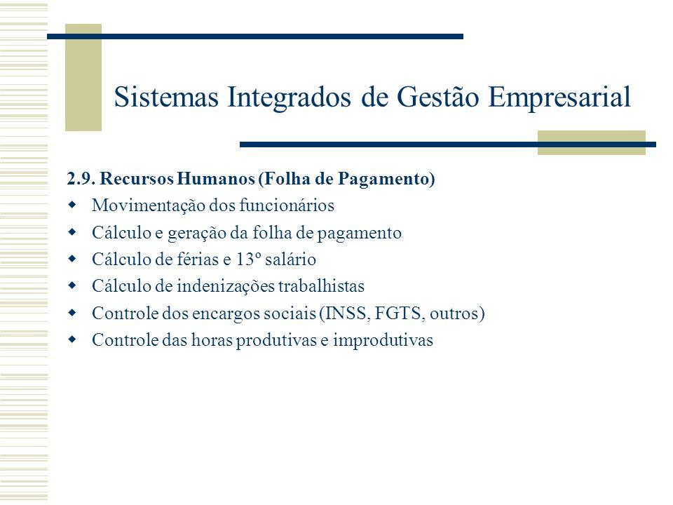 Sistemas Integrados de Gestão Empresarial 2.9. Recursos Humanos (Folha de Pagamento) Movimentação dos funcionários Cálculo e geração da folha de pagam