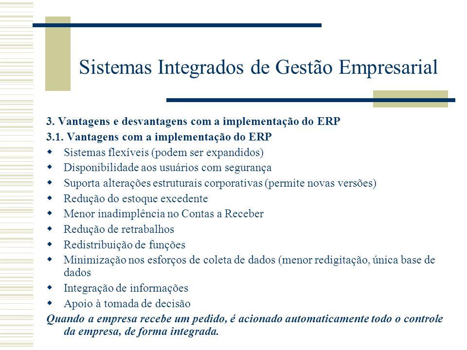 Sistemas Integrados de Gestão Empresarial 3. Vantagens e desvantagens com a implementação do ERP 3.1. Vantagens com a implementação do ERP Sistemas fl