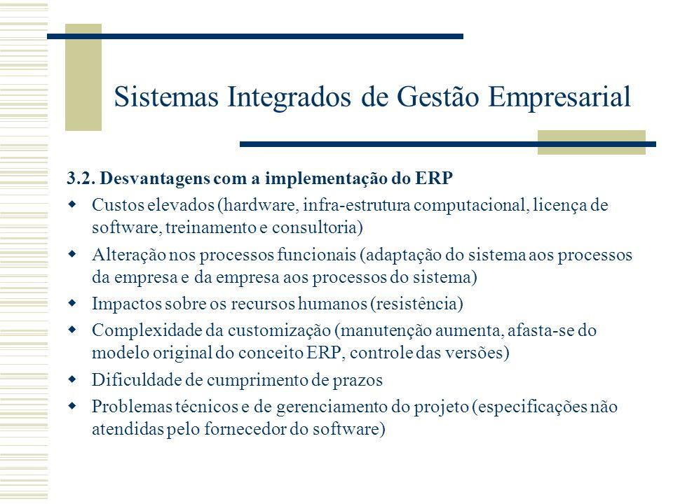 Sistemas Integrados de Gestão Empresarial 3.2. Desvantagens com a implementação do ERP Custos elevados (hardware, infra-estrutura computacional, licen