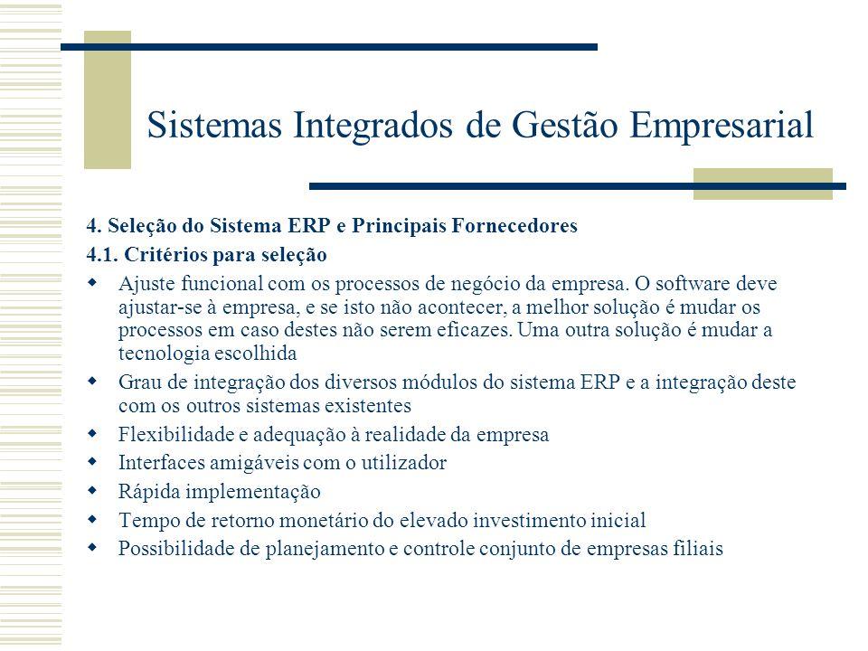 Sistemas Integrados de Gestão Empresarial 4. Seleção do Sistema ERP e Principais Fornecedores 4.1. Critérios para seleção Ajuste funcional com os proc