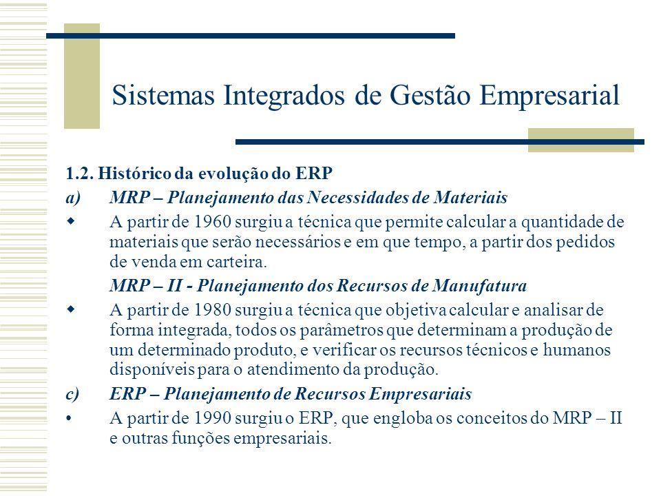 Sistemas Integrados de Gestão Empresarial 1.2. Histórico da evolução do ERP a)MRP – Planejamento das Necessidades de Materiais A partir de 1960 surgiu