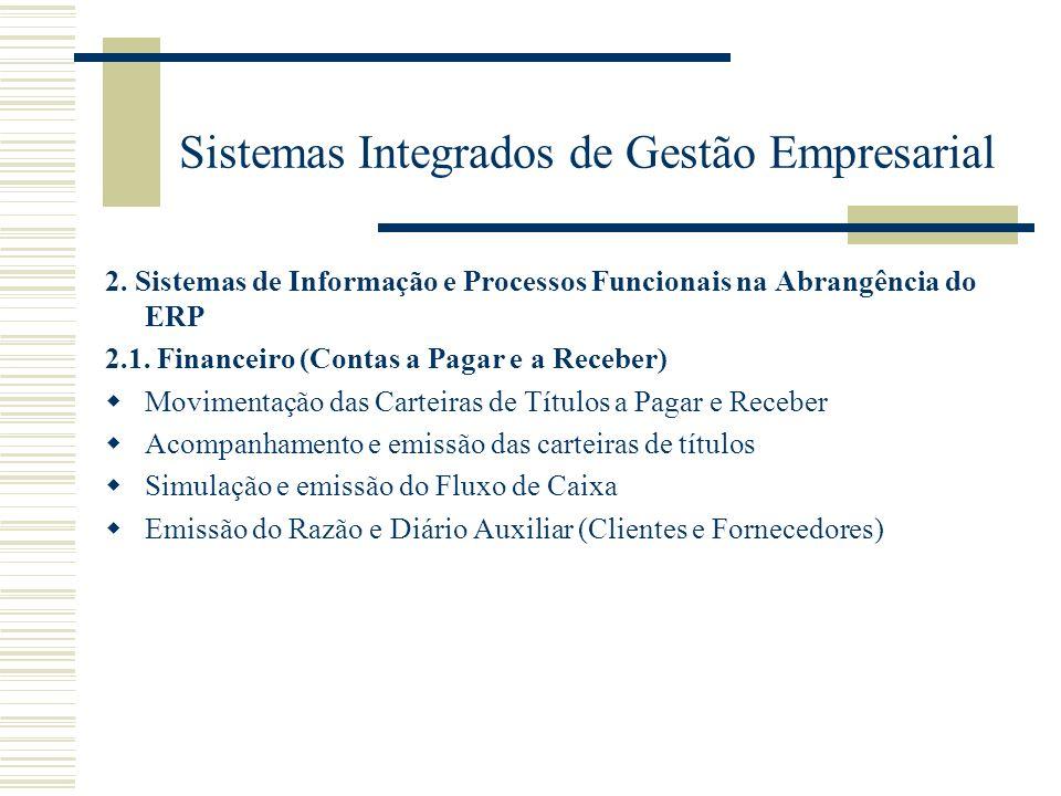 Sistemas Integrados de Gestão Empresarial 2. Sistemas de Informação e Processos Funcionais na Abrangência do ERP 2.1. Financeiro (Contas a Pagar e a R