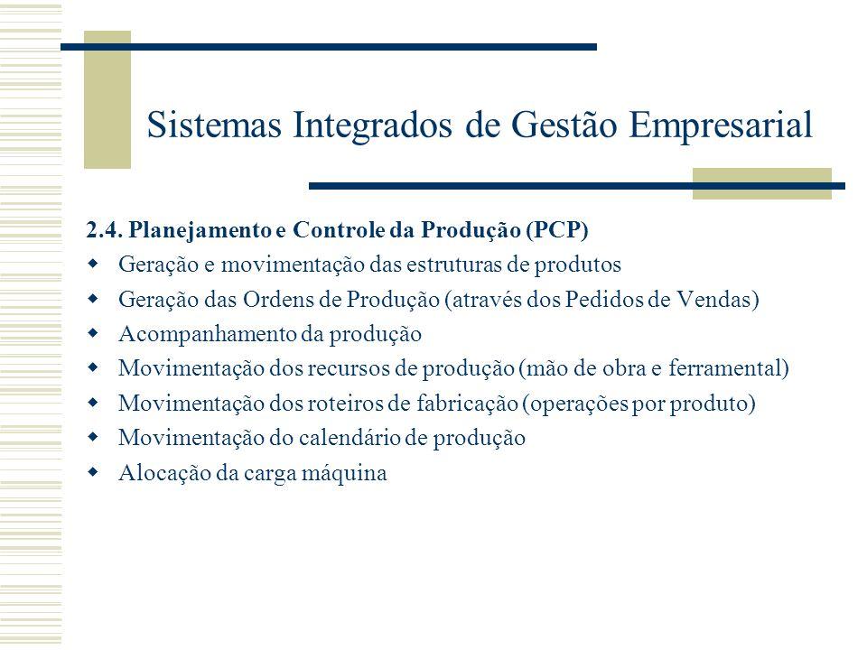 Sistemas Integrados de Gestão Empresarial 2.4. Planejamento e Controle da Produção (PCP) Geração e movimentação das estruturas de produtos Geração das