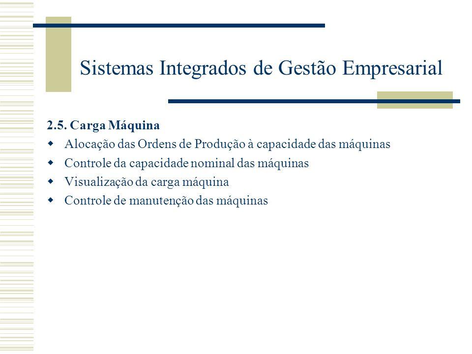 Sistemas Integrados de Gestão Empresarial 2.5. Carga Máquina Alocação das Ordens de Produção à capacidade das máquinas Controle da capacidade nominal