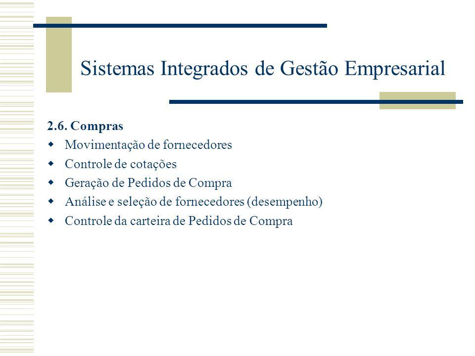 Sistemas Integrados de Gestão Empresarial 2.6. Compras Movimentação de fornecedores Controle de cotações Geração de Pedidos de Compra Análise e seleçã
