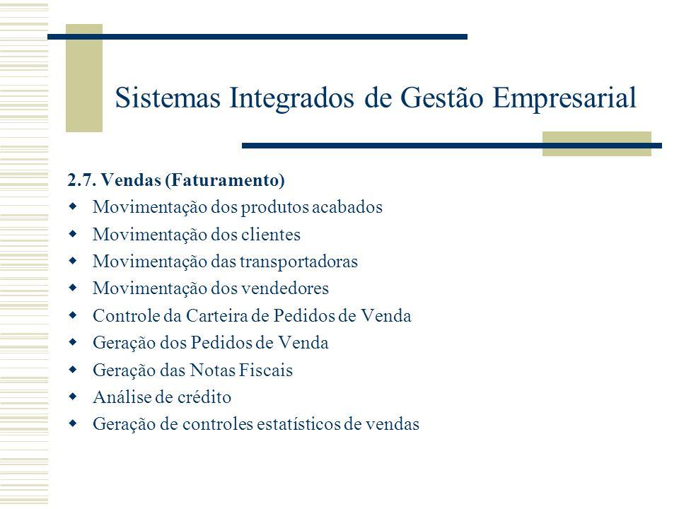 Sistemas Integrados de Gestão Empresarial 2.7. Vendas (Faturamento) Movimentação dos produtos acabados Movimentação dos clientes Movimentação das tran
