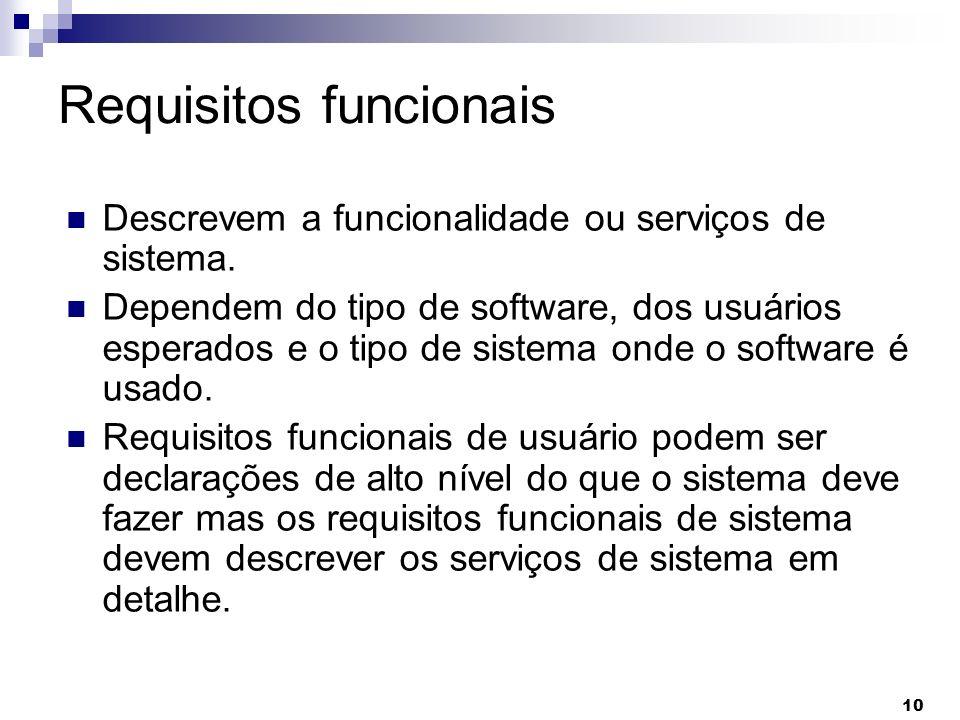 10 Requisitos funcionais Descrevem a funcionalidade ou serviços de sistema. Dependem do tipo de software, dos usuários esperados e o tipo de sistema o