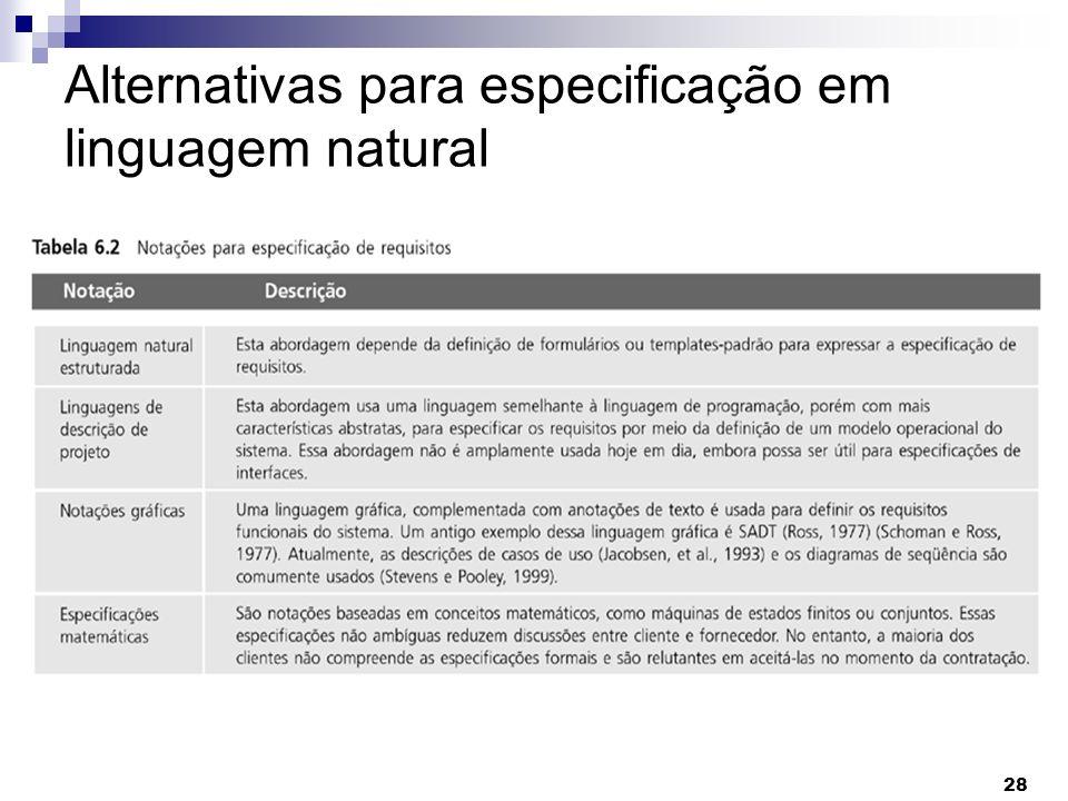 28 Alternativas para especificação em linguagem natural