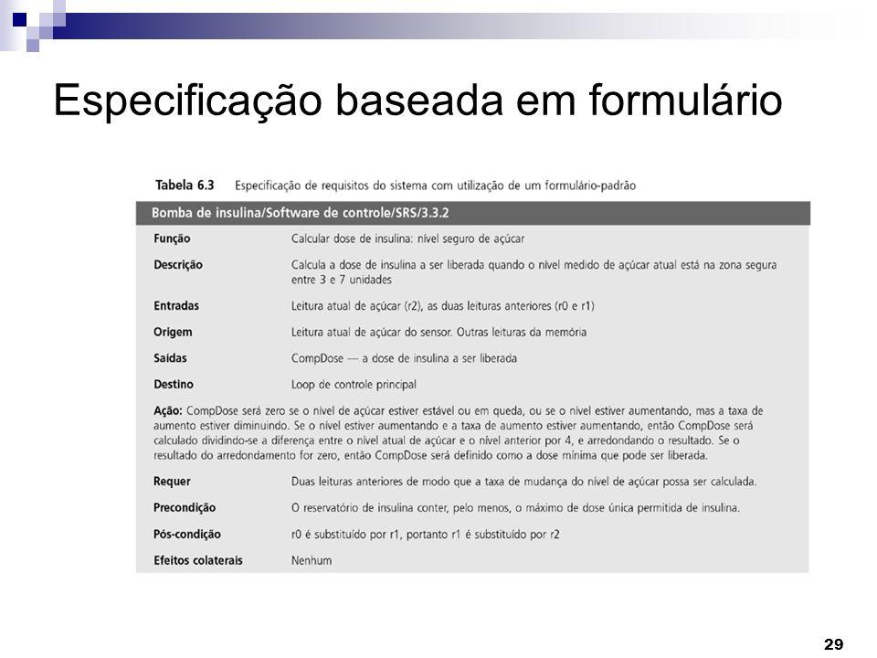 29 Especificação baseada em formulário