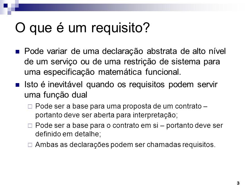 3 O que é um requisito? Pode variar de uma declaração abstrata de alto nível de um serviço ou de uma restrição de sistema para uma especificação matem
