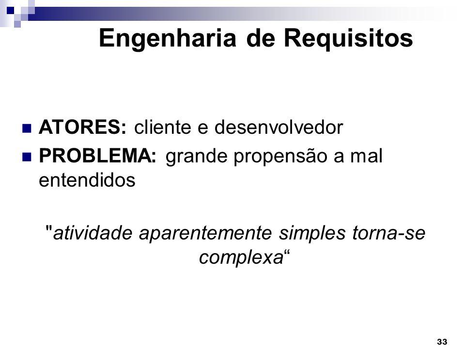 33 Engenharia de Requisitos ATORES: cliente e desenvolvedor PROBLEMA: grande propensão a mal entendidos