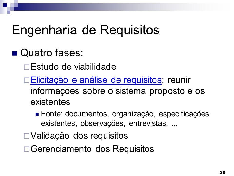 38 Engenharia de Requisitos Quatro fases: Estudo de viabilidade Elicitação e análise de requisitos: reunir informações sobre o sistema proposto e os e