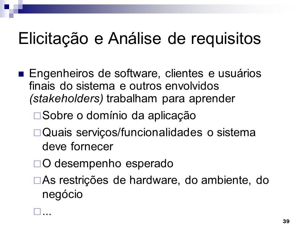 39 Elicitação e Análise de requisitos Engenheiros de software, clientes e usuários finais do sistema e outros envolvidos (stakeholders) trabalham para