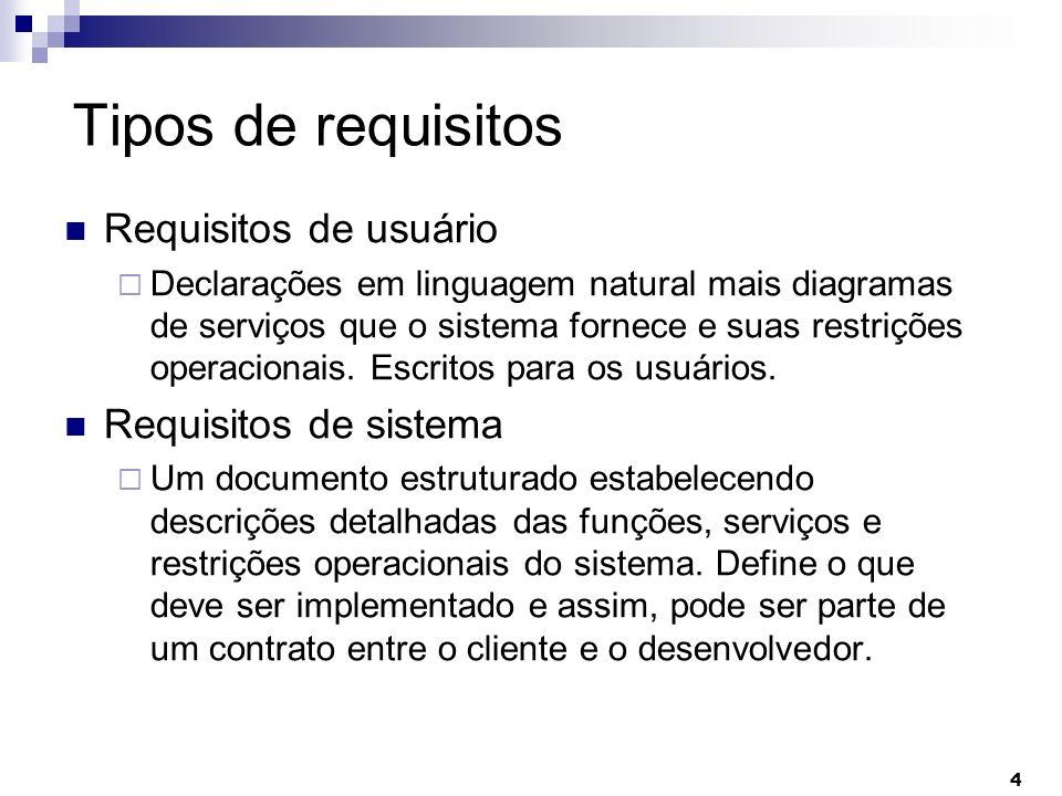 4 Tipos de requisitos Requisitos de usuário Declarações em linguagem natural mais diagramas de serviços que o sistema fornece e suas restrições operac