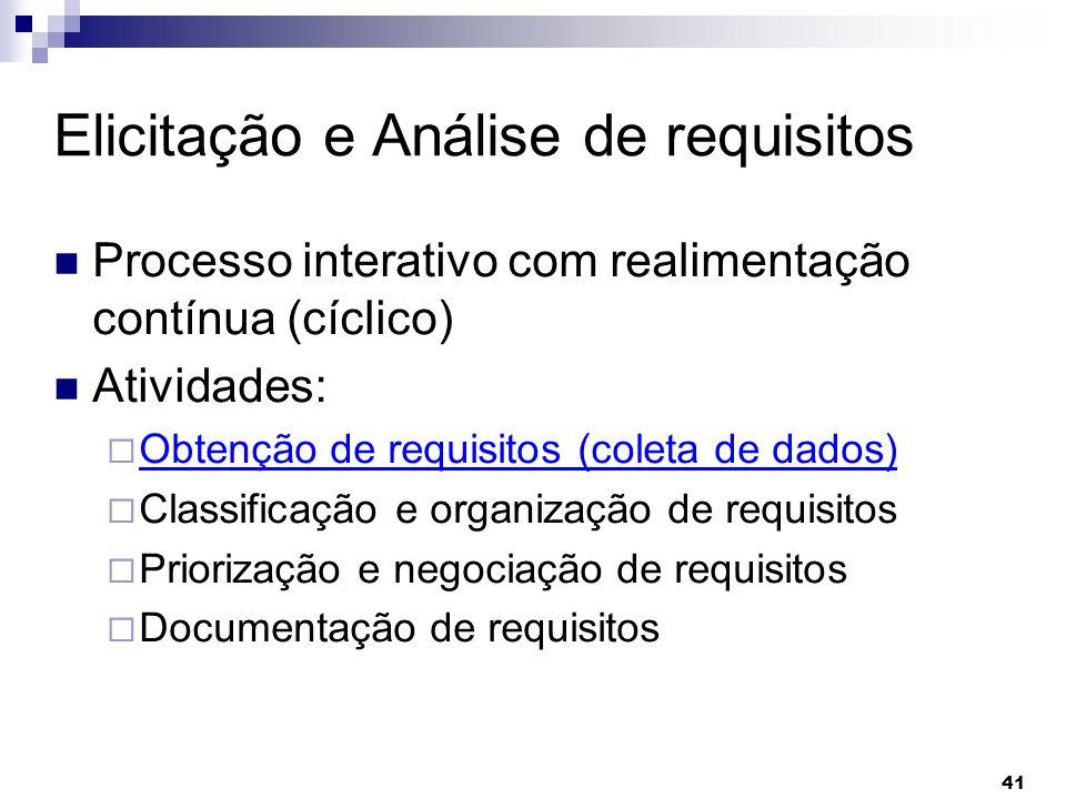 41 Elicitação e Análise de requisitos Processo interativo com realimentação contínua (cíclico) Atividades: Obtenção de requisitos (coleta de dados) Cl