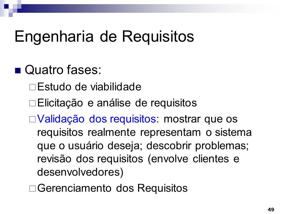 49 Engenharia de Requisitos Quatro fases: Estudo de viabilidade Elicitação e análise de requisitos Validação dos requisitos: mostrar que os requisitos
