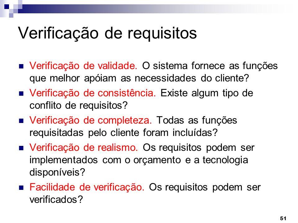 51 Verificação de requisitos Verificação de validade. O sistema fornece as funções que melhor apóiam as necessidades do cliente? Verificação de consis