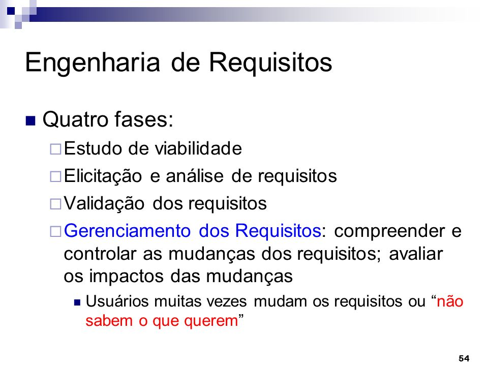 54 Engenharia de Requisitos Quatro fases: Estudo de viabilidade Elicitação e análise de requisitos Validação dos requisitos Gerenciamento dos Requisit