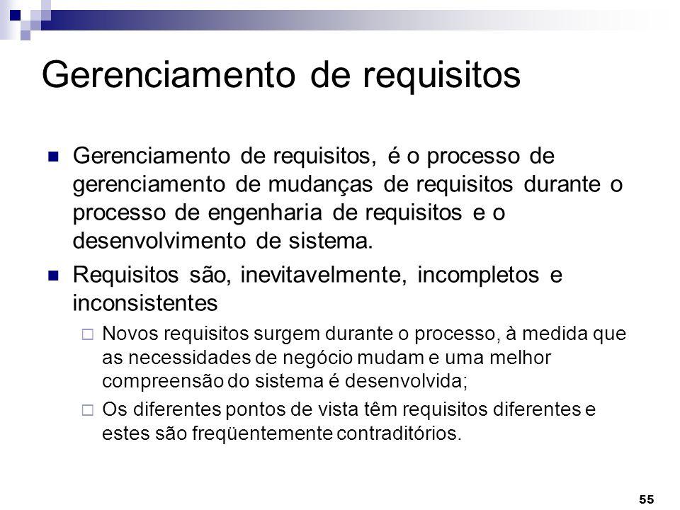 55 Gerenciamento de requisitos Gerenciamento de requisitos, é o processo de gerenciamento de mudanças de requisitos durante o processo de engenharia d