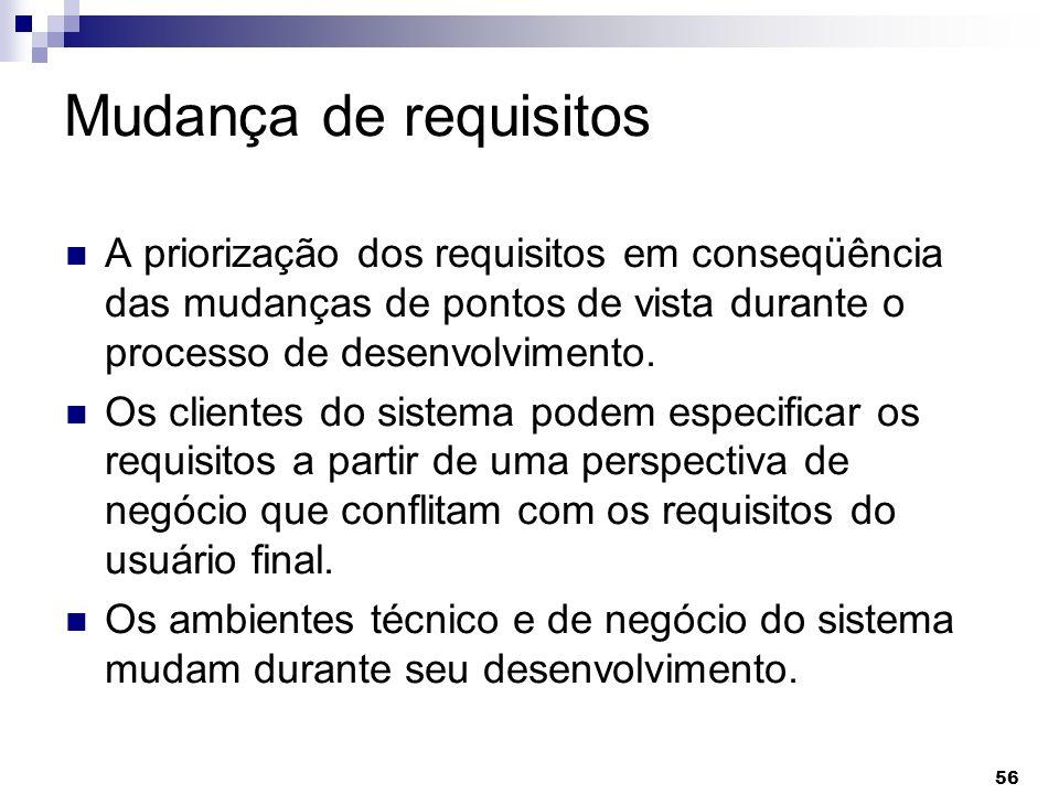 56 Mudança de requisitos A priorização dos requisitos em conseqüência das mudanças de pontos de vista durante o processo de desenvolvimento. Os client