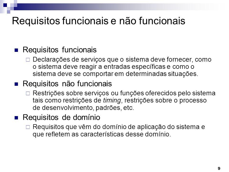 9 Requisitos funcionais e não funcionais Requisitos funcionais Declarações de serviços que o sistema deve fornecer, como o sistema deve reagir a entra