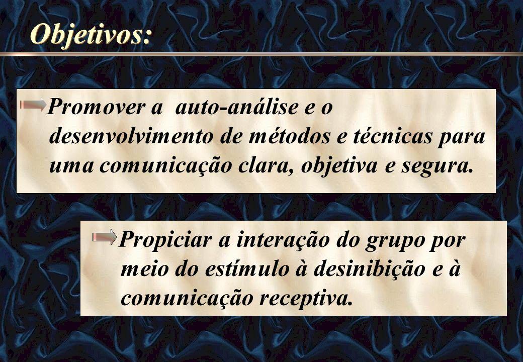 Objetivos: Promover a auto-análise e o desenvolvimento de métodos e técnicas para uma comunicação clara, objetiva e segura. Propiciar a interação do g