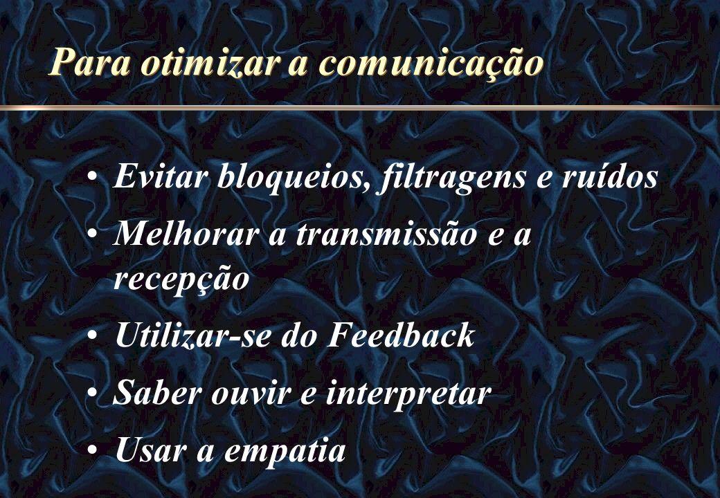Para otimizar a comunicação Evitar bloqueios, filtragens e ruídos Melhorar a transmissão e a recepção Utilizar-se do Feedback Saber ouvir e interpreta