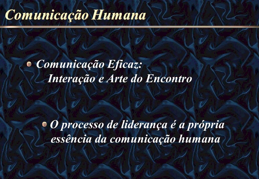Comunicação Humana O processo de liderança é a própria essência da comunicação humana Comunicação Eficaz: Interação e Arte do Encontro