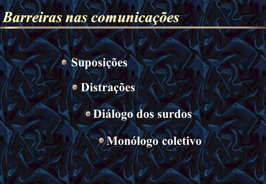 Barreiras nas comunicações Suposições Distrações Diálogo dos surdos Monólogo coletivo