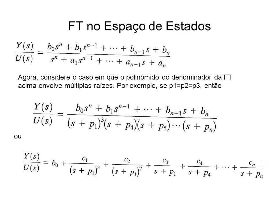 FT no Espaço de Estados Agora, considere o caso em que o polinômido do denominador da FT acima envolve múltiplas raízes. Por exemplo, se p1=p2=p3, ent