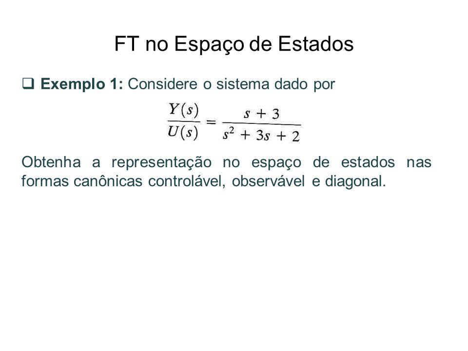FT no Espaço de Estados Exemplo 1: Considere o sistema dado por Obtenha a representação no espaço de estados nas formas canônicas controlável, observá