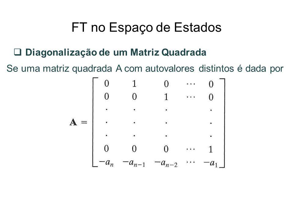 FT no Espaço de Estados Diagonalização de um Matriz Quadrada Se uma matriz quadrada A com autovalores distintos é dada por