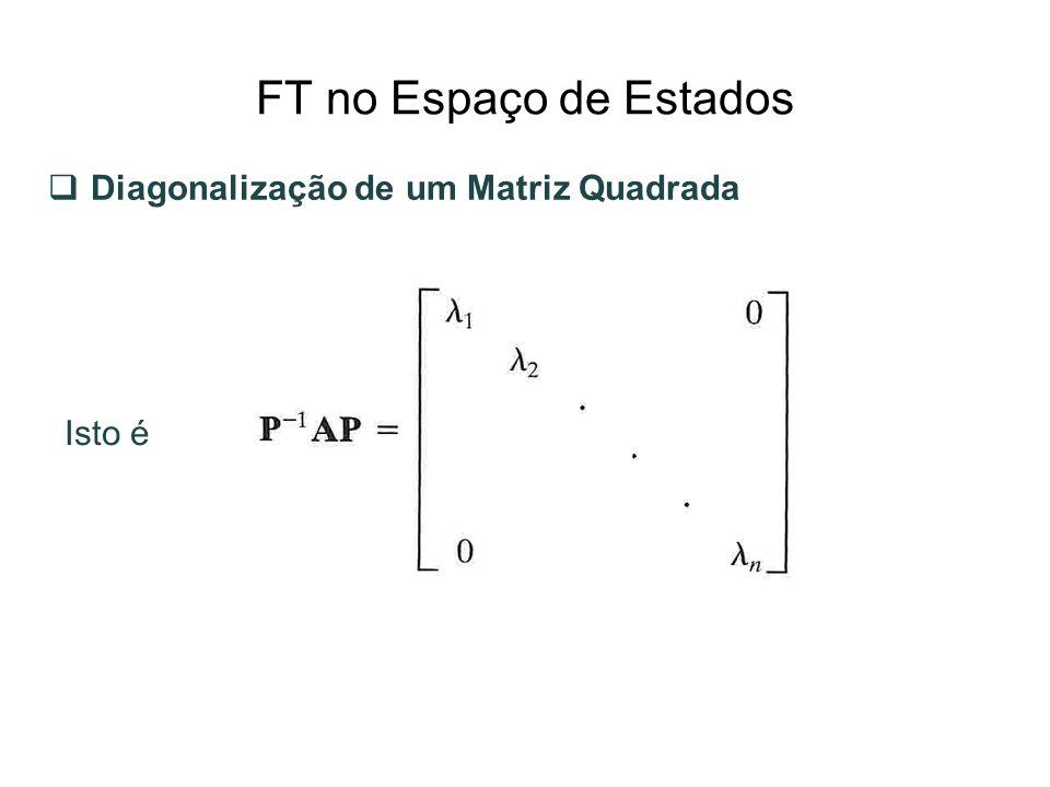FT no Espaço de Estados Diagonalização de um Matriz Quadrada Isto é