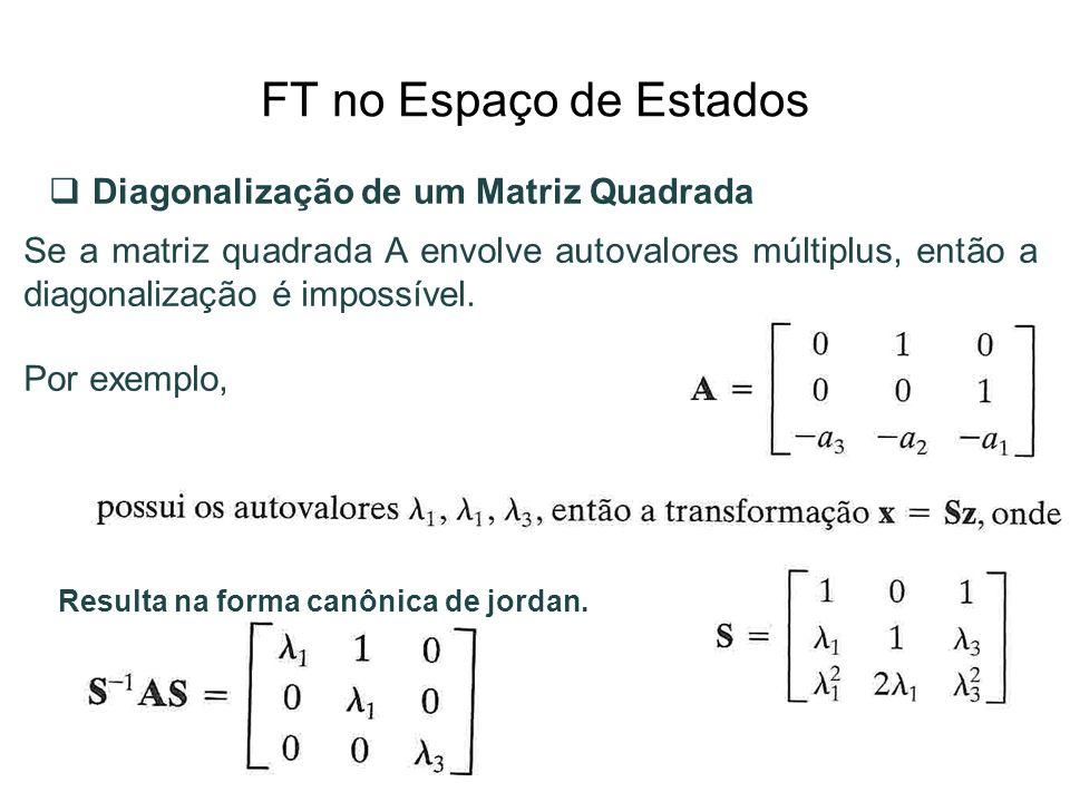 FT no Espaço de Estados Diagonalização de um Matriz Quadrada Se a matriz quadrada A envolve autovalores múltiplus, então a diagonalização é impossível