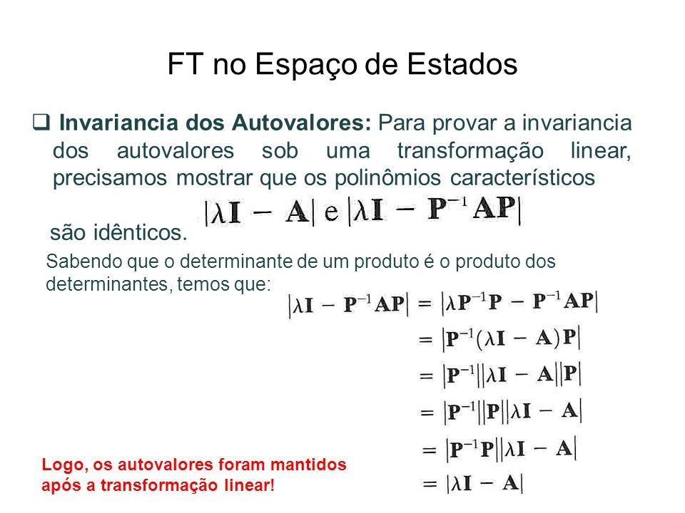 FT no Espaço de Estados Invariancia dos Autovalores: Para provar a invariancia dos autovalores sob uma transformação linear, precisamos mostrar que os