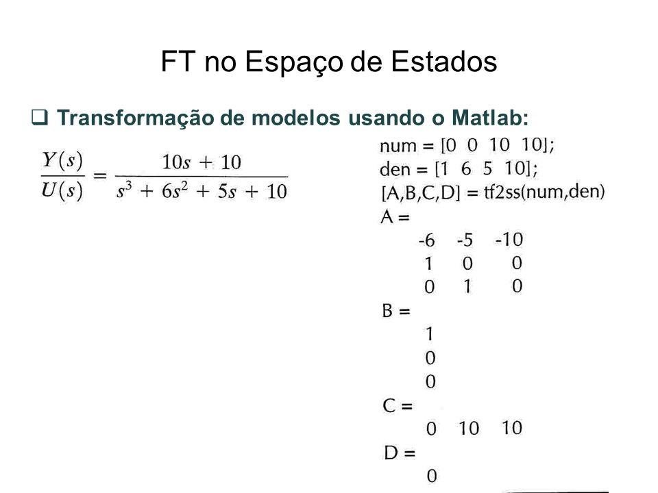FT no Espaço de Estados Transformação de modelos usando o Matlab: