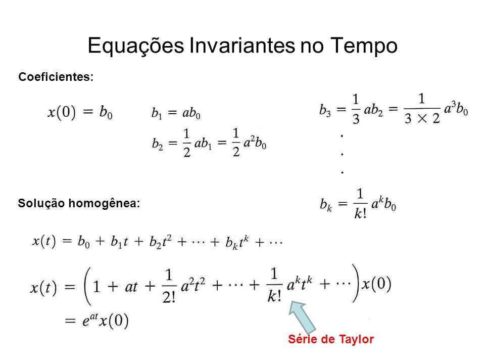 Equações Invariantes no Tempo Solução homogênea: Coeficientes: Série de Taylor