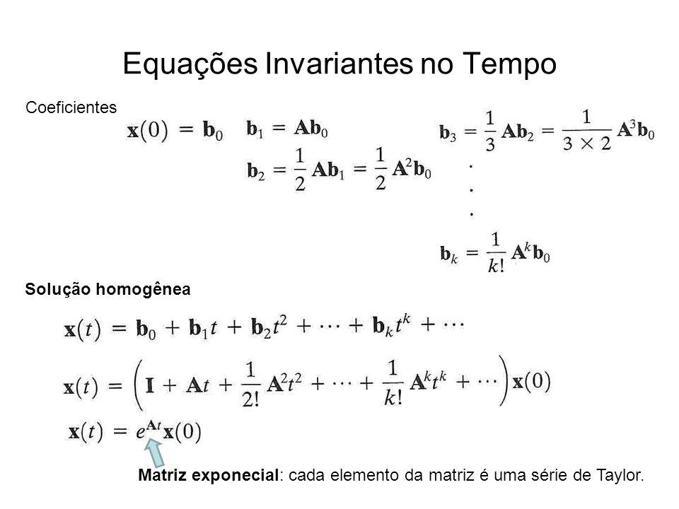 Equações Invariantes no Tempo Coeficientes Solução homogênea Matriz exponecial: cada elemento da matriz é uma série de Taylor.