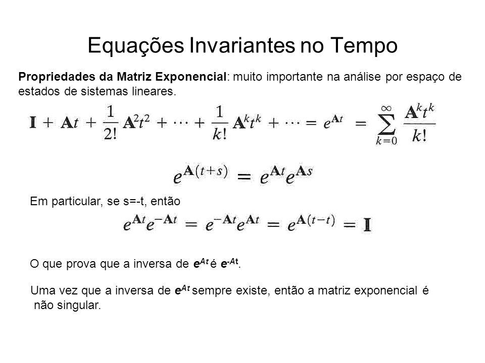 Equações Invariantes no Tempo Propriedades da Matriz Exponencial: muito importante na análise por espaço de estados de sistemas lineares. Em particula