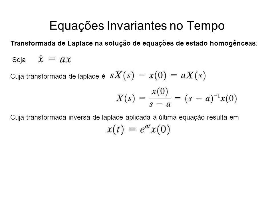 Equações Invariantes no Tempo Transformada de Laplace na solução de equações de estado homogênceas: Seja Cuja transformada de laplace é Cuja transform